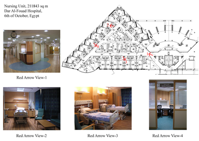 Nursing Unit 1843 sq m (19837.88 sq ft), Second Floor, Dar Al-Fouad Hospital, Egypt