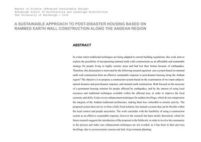 Can a construction system based on rammed earth wall construction be an effective sustainable response to post-disaster housing in the Andean region?