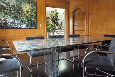 LUCITE AND MARBLE TABLE