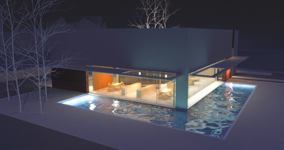 The house with a moat (night views)