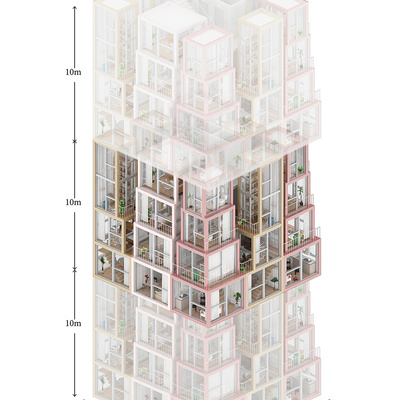 "1st prize: ""Towers within a Tower"". Project authors: Lap Chi Kwong, Alison Von Glinow, Kevin Lamyuktseung 