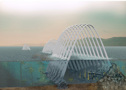 "Cetacea"" comprises wave-, wind-, and solar-powered generators within graceful arches to maximize energy production."