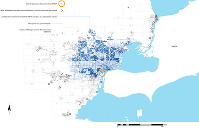 sewered streets sending waste to Detroit