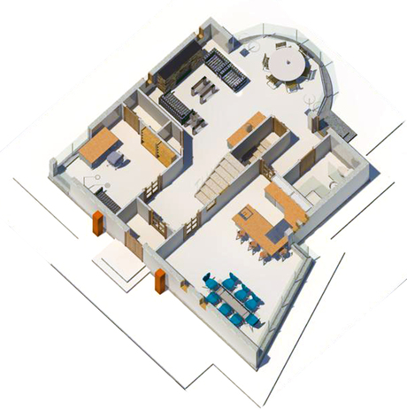 Single family residence. Isometric first floor plan.