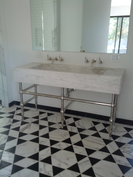 custom CNC marble sink with custom water jet marble floor