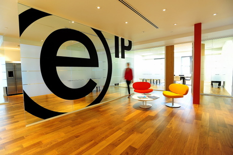 EIP Office TI... Front Lobby Logo Glass Wall
