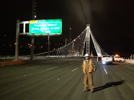 The night before the San Francisco Bay Bridge opened to the public.