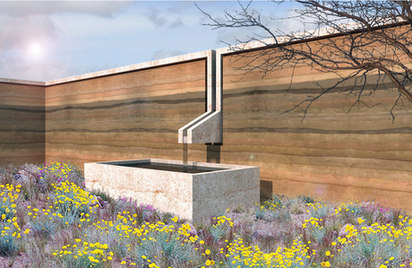 rammed earth (version1) garden wall with concrete cap and integrated fountain.