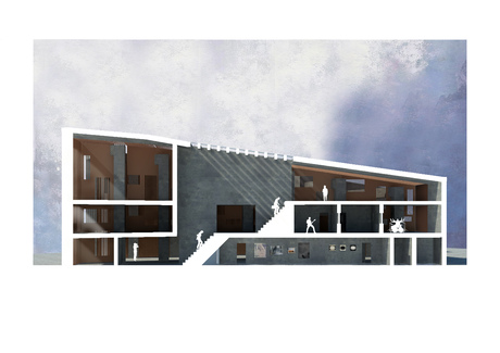 Conceptual Section for a Sonic Arts Centre based in Derry, Northern Ireland