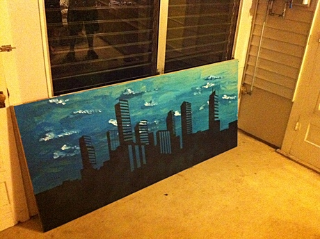 Almost finished Denver Skyline painting
