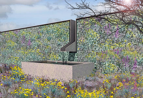 gabion wall (version 3) with corten steel cap and integrated fountain. One of three versions for the schematic phase for a residential landscape design...