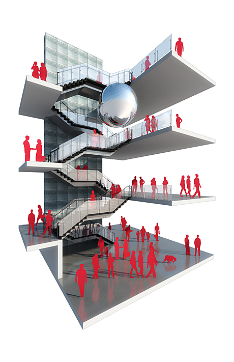 stair design for parking garage lobby