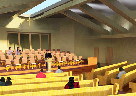 A church rendering I did in Revit for a client.