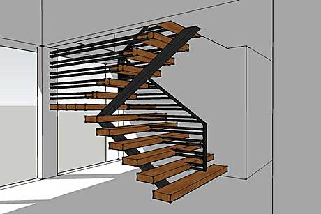 steel and timber stair