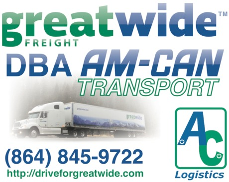 Advertising sign for Anderson, SC logistics company Greatwide Freight