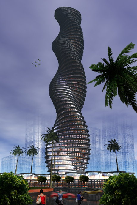 curved tower model