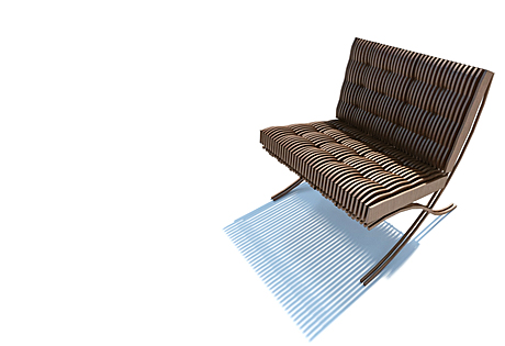 wood rib barcelona chair