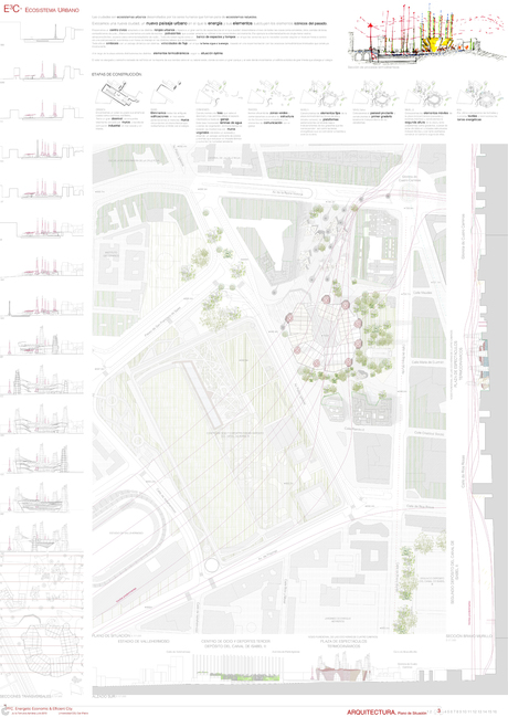 Location of one of the projects of the sustainable masterplan. Conected with every network designed. In this case it would be a multipurpose container created as a social center for the neighbourhood with an exhibition site for 10.000people..