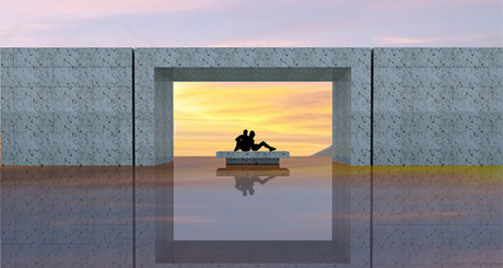 old memorial competition entry / flooded courtyard / zero depth reflecting pool with black slate pavers / on a hilltop