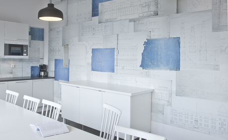 Wall design. Collage of old architectural drawings for office in Stockholm