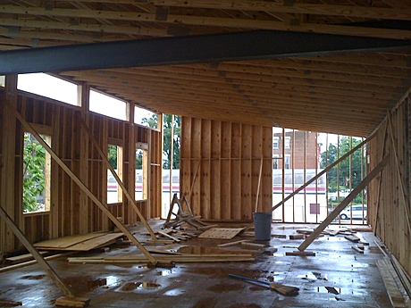 structural inspection of new headquarters for YouthBuild: a lot of it built by the organization's students!!