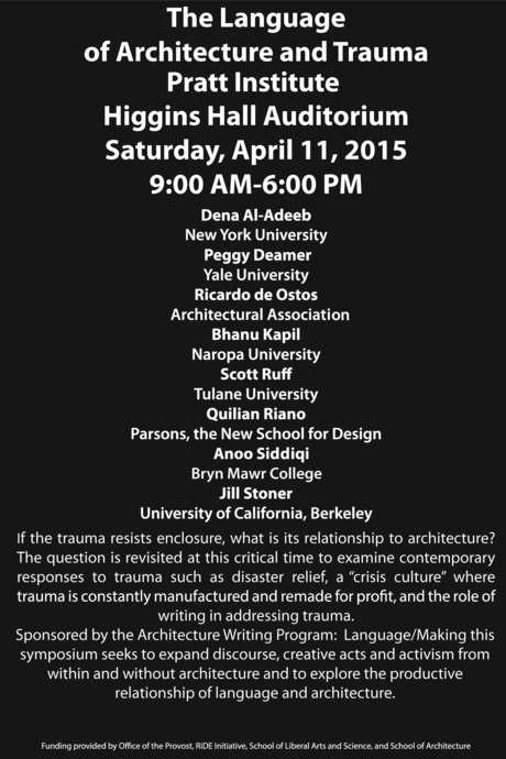The Language of Architecture and Trauma Symposium Pratt Institute