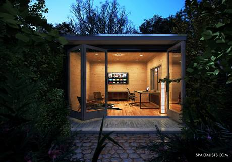 Hidden backyard office, 3D rendering USA. www,spacialists.com