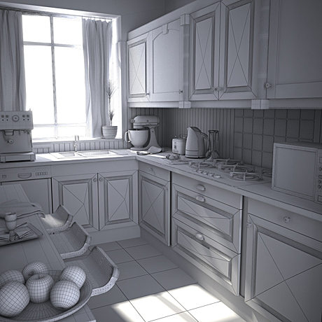 Finished a wireframe render of the Woolworth Tower kitchen model. Final rendered version in the portfolio...