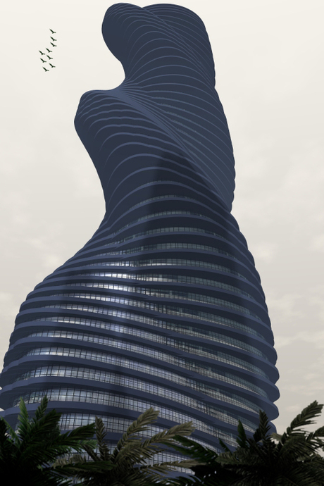 curved and twisted Tower model 