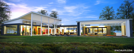 3D RENDERING - MODERN CAPE COD DESIGN .. www.spacialists.com