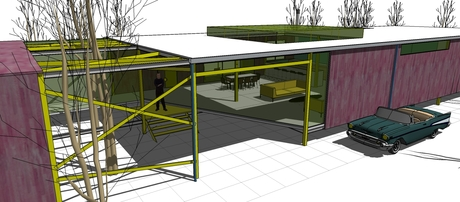 Project for an affordable single-family contemporary home, with prefab elements. A development of the ideas of modernist architecture, inspired by the projects from the Case-Study House program, California, 1945-1966