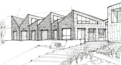 Spent a beautiful Saturday afternoon sketching the WMS Boathouse by Studio Gang.
