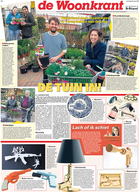 The Gun Rack Organizer is featured in a recent issue of De Telegraaf Woonkrant, the largest newspaper in The Netherlands. The story was about weapons in design.