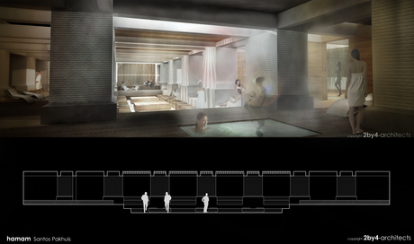 I've recently finished the preliminary design proposal for a hamam in Rotterdam, NL. For more info, visit the webpage of the office; www.2by4.nl