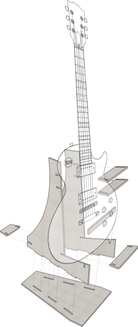 a very basic design of a guitar stand. A free time activity.