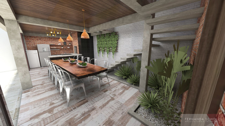 Family reunion space, with a barbecue grill and a wood oven. A kind of rustic and modern look to make it feel cozy and warm