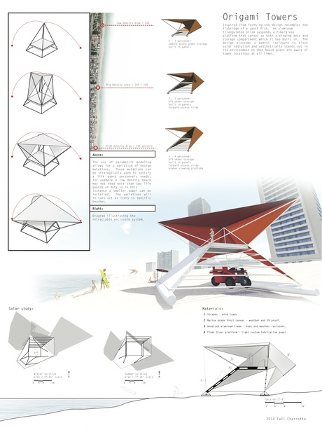 Origami Towers (lifeguard stands) - Fall 2014 winning Charrette FAU SoA