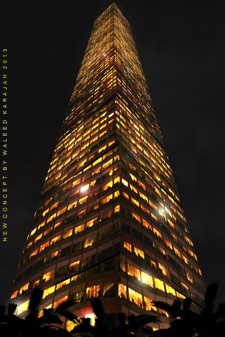Office Block building at night new light concept