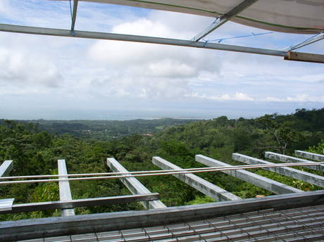 Residential project update: Balcony view from Dos Mariposas, an off-the-grid private retreat in Costa Rica. Were utilizing a hybrid of solar, hydro-power and geo-thermal systems. Three weeks into construction. In collaboration with Studio Meraz