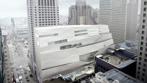 SFMOMA Expansion Aerial Southeast Façade. (Bloomberg; Source: MIR and Snøhetta)