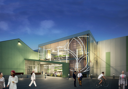 Rendering of the new indoor vertical farm and global corporate headquarters in Newark, NJ. Image courtesy of AeroFarms/RBH Group.