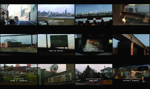 "Video stills of the opening title sequence of the American television drama ""The Sopranos"". ©HBO ""Tony Soprano is emerging from the Lincoln Tunnel, entering the New Jersey Turnpike, one of the Greater New York Roads, and finally pulling into the driveway of his suburban home."""