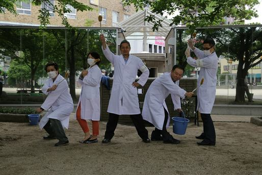 To promote the Toilennale, Oita, Japan, staged a bathroom-cleaning performance last week.Photo courtesy Oita Toilennale Executive Committee.