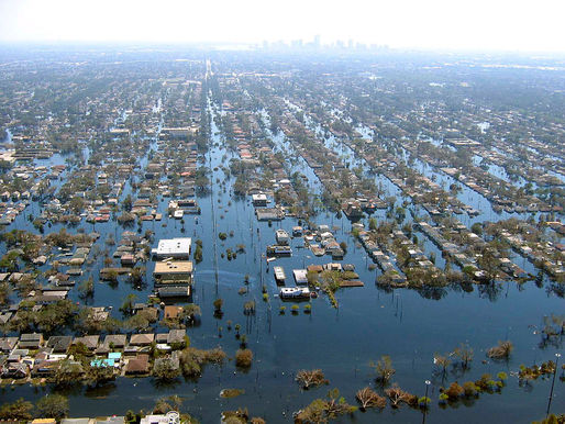 New Orleans – shown here after Hurricane Katrina – and other coastal cities in the Southeast US like Miami are particularly at risk. Via: Wikipedia