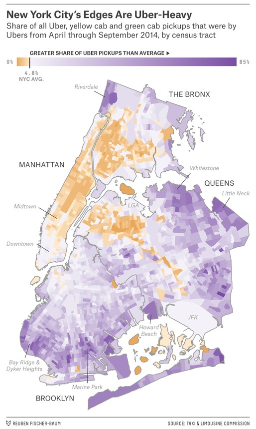 A map showing Uber usage along the edges of New York City. Credit: Reuben Fischer-Baum for Five Thirty Eight