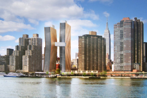 GOING UP A pair of rental towers, clad in copper and glass, will rise along the East River on a site that has sat empty for more than a decade. The buildings will be connected by a sky bridge.
