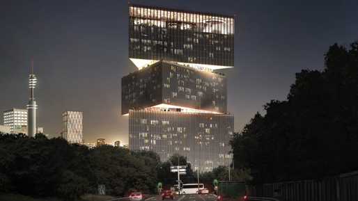 The OMA-designed 'nhow Amsterdam RAI' hotel has won the global tender for a new hotel at the Amsterdam RAI complex, one of the largest exhibition and conference centers in the Netherlands. (Rendering: OMA; Image via nltimes.nl)