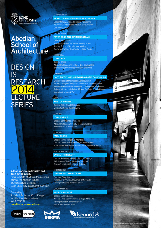 2014 Lecture Series at Bond University's Abedian School of Architecture. Image courtesy of Abedian School of Architecture.