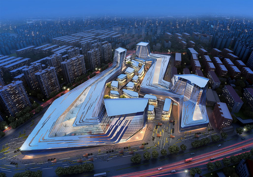 Aerial view of the proposed Shanghai Wuzhou International Plaza designed by Synthesis Design + Architecture and Shenzhen General Architectural Design Institute (Image: SDA)