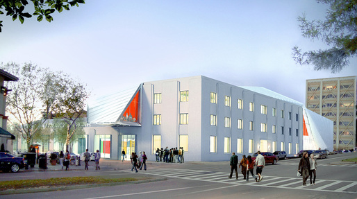 Rendering of the new UC Berkeley Art Museum and Pac ific Film Archive (BAM/PFA), designed by Diller Scofidio + Renfro. View from the intersection of Center and Oxford Streets. Courtesy of the Regents of University of California